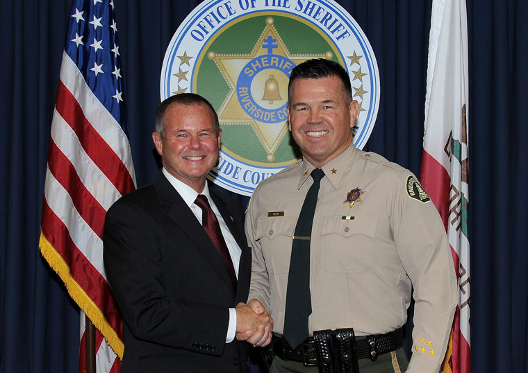 """On Dec. 24, Riverside County Sheriff Stan Sniff (left) announced the appointment of Hemet Station Capt. Lyndon """"Ray"""" Wood as the new chief deputy with oversight of the agency's Eastern Field Operations, which includes the Colorado River, Thermal and Palm Desert stations, as well as the Special Enforcement Bureau (SWAT), Hazardous Device Team (HDT) and Aviation Unit. Wood has led the Hemet Station since December 2013. His replacement has not been announced. Photo courtesy Riverside County Sheriff's Department"""