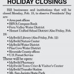Holiday Closings: Presidents' Day; February 15, 2016