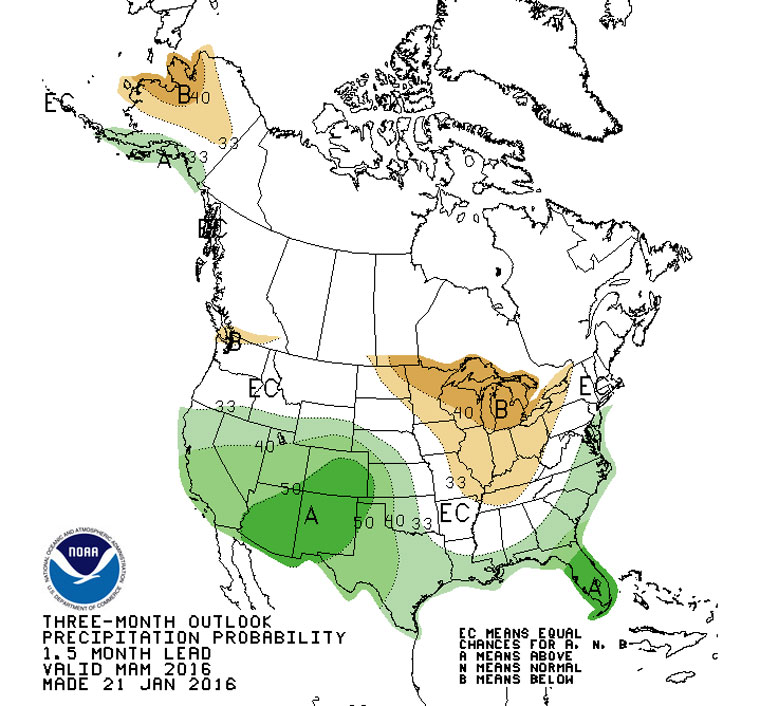 The Climate Prediction Center forecasts an above-average chance of precipitation in Southern California from March through May. Map courtesy the National Weather Service