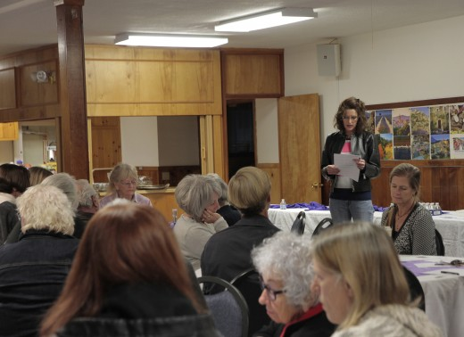 Shanna Robb, president of the Art Alliance of Idyllwild, goes over the agenda with the board and membership at its annual meeting Friday evening. Photo by John Drake