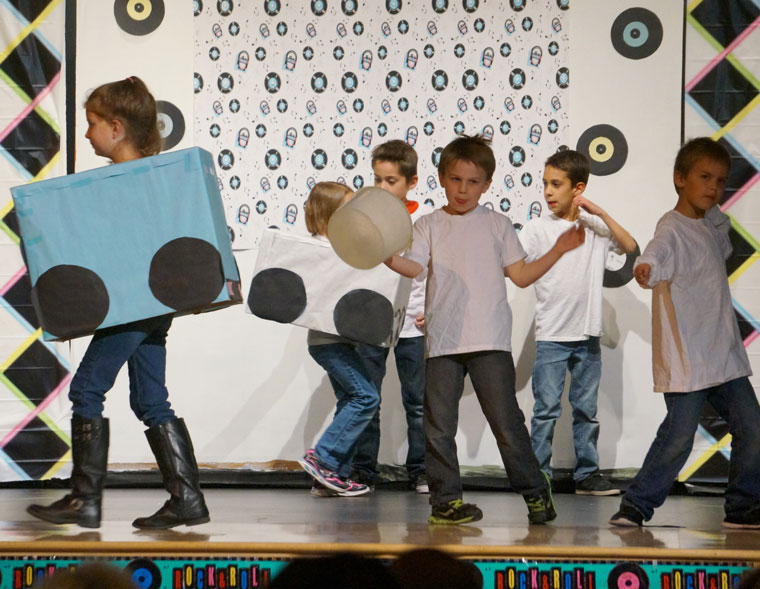 """Connie Chavez's second-grade class performs """"Car Wash"""" during Idyllwild School's annual """"Blast to the Past"""" fundraiser Friday night. Photo by Chandra Lynn"""