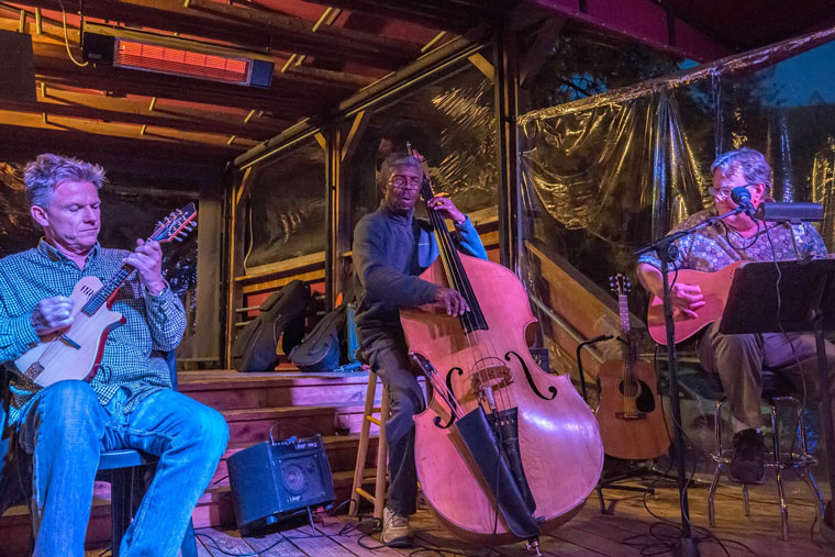 Don Reed, Marshall Hawkins and Joey Latimer, newly dubbed 'The Louie Bluies,' perform on Leap Day night, Monday, Feb. 29. Photo by Philip Weber