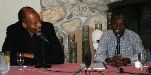 Harry Pickens, jazz pianist, inspirational speaker and regular featured artist at Jazz in the Pines, interviewed our local lion of jazz, Marshall Hawkins, at a Sunday, March 6, fireside chat in Nelson Dining Hall on the Idyllwild Arts campus. Photo by Marshall Smith