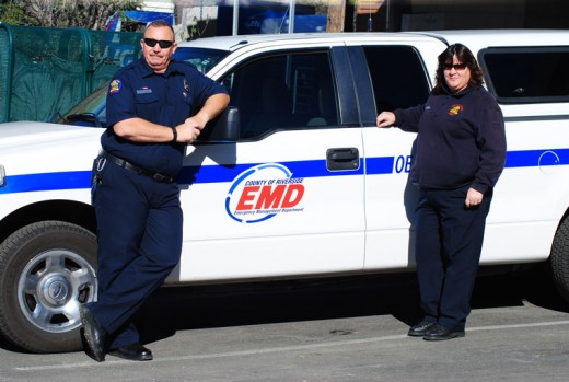 Riverside County's Emergency Management Department's logo is now on all its vehicles. Attending his first Mountain Emergency Service Committee meeting is Jerry Hagen (left) accompanied by the current EMD coordinator, Kathleen Henderson. Photo by J P Crumrine