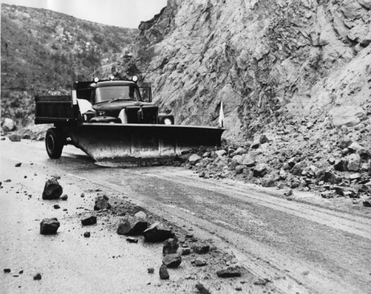 When a natural terrain pattern is altered, damage occurs, such as this example on the Banning-Idyllwid Highway in January 1969. Generally, most of the rain soaked into the lush forest floor.File photo