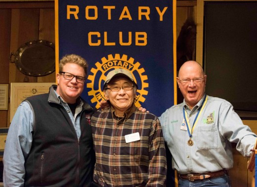"Ted Kinoshita (center) became the world's newest Rotarian last Wednesday, Feb. 23, at the Idyllwild Rotary meeting. Ted was sponsored by Chris Scott (left) and inducted by membership chair Chuck Streeter (right). ""Now the 'service above self' begins!"" wrote Rotary President Chuck Weisbart. Photo by Tom Kluzak"