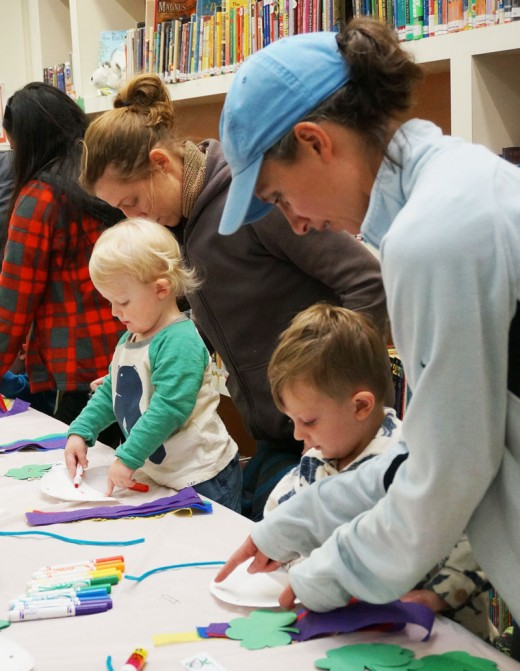 Above, this week, storytime at the Idyllwild Library was learning about and preparing for St. Patrick's Day, which is Thursday, March 17. Photo by Chandra Lynn