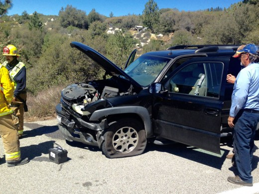The driver of a 1996 Toyota Corolla collided with this Chevy Z 71 pickup last Wednesday on Highway 243. Traffic was backed up in both directions. Photo by Jack Clark
