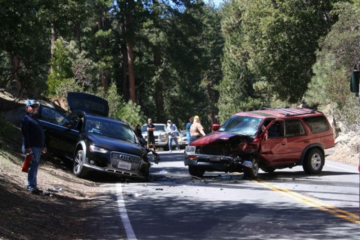 This was the scene of a hit-and-run traffic collision that backed up traffic on Highway 243 for more than an hour last Wednesday. Photo by Becky Clark