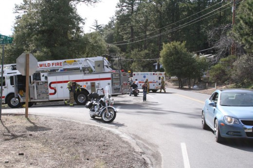 Traffic was slowed on Highway 243 Saturday afternoon for a motorcycle crash at Cedar Glen Drive. Photo by Jack Clark