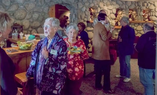 The Art Alliance of Idyllwild held a Members Mingle at the Creekstone Inn Tuesday evening, April 19. Numerous members and guests attended, and there were many interesting conversations, supplemented with excellent food and beverages in the classic romantic mountain setting.Photo by Tom Kluzak