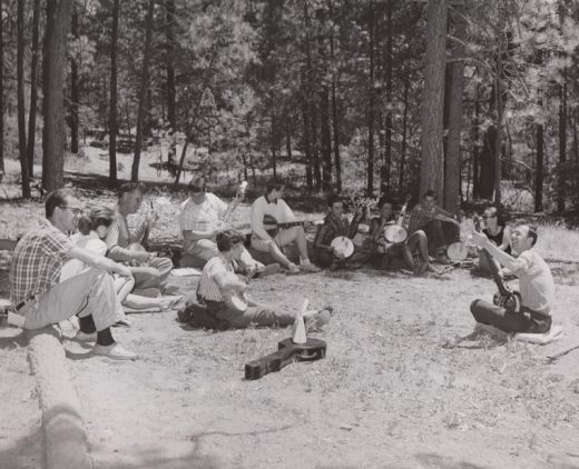 During the first Summer Program at Idyllwild Arts, folk singer Pete Seeger entertained campers. Seeger was one of many famous artists who came to the nascent campus in the early years of the Summer Program. Photo courtesy Sydney Cosselman, IA Krone Museum