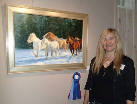 "Michelle Kondos (shown Saturday night) took Best of Show in the Art Alliance of Idyllwild's Front and Center Judged Art Show at Middleridge Winery for ""Last Run, Last Light.""Photos by Becky Clark"