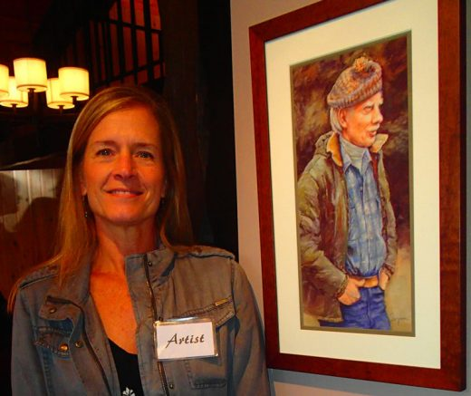 "Lynn Ryan (shown Saturday night) won the People's Choice award in the Front and Center show for ""Ernie Maxwell."" Maxwell taught Ryan art classes at the Hi-Lo Alternative School in Idyllwild in the 1980s."