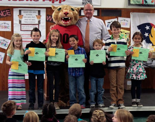 Among the first award winners at Idyllwild School were outstanding attendance winners (from left) Abigail White, Boston Hamblin, Hannah Grove, Giovanni Garcia, James Clark, Finneas Carpenter, and Emily Brosterhaus Agner. Abigail, Boston, Hannah and Finneas are second graders and Giovanni, James, and Emily first grade students. Photo by John Drake