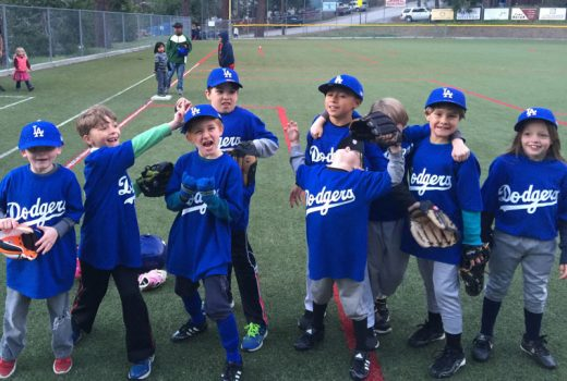 The Dodgers were very excited to win in their first game of the Town Hall Youth Baseball League minors last week against the Giants. Photo by Ginger Dagnall