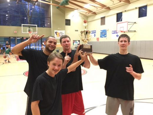 The winners of Town Hall Adult Basketball are, from left, Kellen Porter, Matt Nunn, Noah Rutherford and Stefan Carman (in front). Photo courtesy Bob Lewis