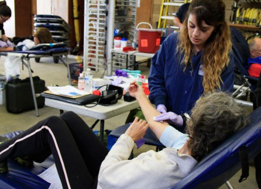 Lifestream's Anna Lopez draws blood from Patty Hudson at the IFPD Blood Drive, Saturday at the Idyllwild Fire Station.  Photo by John Drake