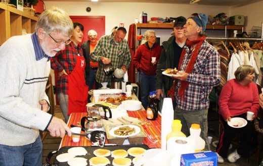 Breakfast was served for those who serve the Idyllwild HELP Center. Volunteers gathered Friday morning for breakfast hosted by HELP Center staff and board members, including real estate broker Larry Bischof (left), who prepared the pancakes. The diverse cadre of volunteers, including members of the Woodies, was recognized for the valuable contributions they make to meeting the primary goal of the center, which is to provide basic help to seniors, the disabled and families in need.Photo by Barry Zander