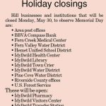 Holiday Closings: Memorial Day, May 30, 2016