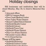 Holiday Closings: Memorial Day, May 30, 2016