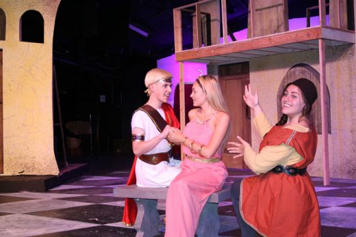 """Idyllwild Arts Academy presents Stephen Sondheim's musical comedy romp """"A Funny Thing Happened on the Way to the Forum"""" beginning Thursday, May, 12. Seen here are leads Lincoln Belford as Hero, Olivia Schneider as Philia and Madeline """"Maddie"""" Bernstein as Pseudolus.Photo by Marshall Smith"""