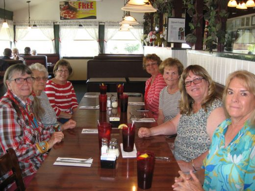 Members of the Garner Valley Gals enjoyed lunch at Russo's in Banning before visiting the Edward-Dean Museum and Gardens in Cherry Valley on Thursday, May 12. Attending were (left side, from left) Susan Gonzales, Marya Zentz and Judy Sherman;  (and (right side, from right) Kathy Bowman, Debbie Gray, Sally Burrage, and Barbara Parker.Photo courtesy Kathy Bowman