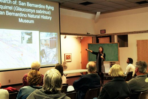 Dr. Jen Gee, director of the James Reserve, speaking about the geology of Idyllwild and the history of the reserve Saturday evening. Photo by  John Drake