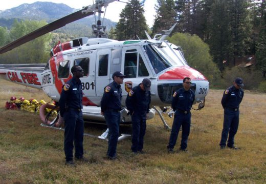 Cal Fire and U.S. Forest Service crews held a drill Monday morning at Dutch Flats. The crews used a Cal Fire helicopter to work with the pumpkin in case a local fire requires water.Photo by Jerry Holldber