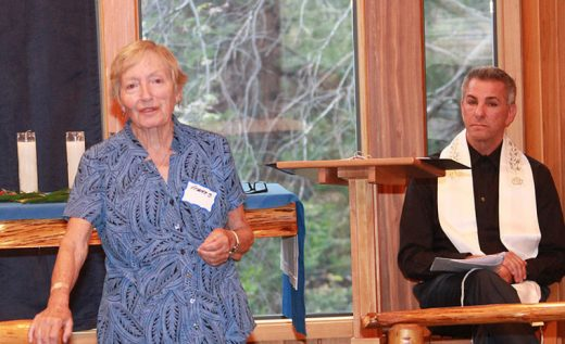 In commemoration of the Holocaust, Frances Nassau (left), a 92-year-old concentration camp survivor, was guest speaker at Friday night's Temple Har Shalom service held at St. Hugh's Episcopal Church. Nassau related many of the ordeals she and others endured while being held in the World War II camps. Leading the service was Rabbi Jules King (right).Photo by Barry Zander