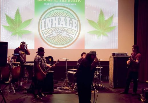 Popular SoCal reggae band Inhale performed at the Rustic Theatre Saturday, May 14. New Rustic owner Kevin Nett said he plans to have more live performances at the theater in the future.Photo by Tom Kluzak