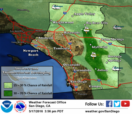 NWS map of potential rain and flooding afternoon of May 17. Courtesy of National Weather Service