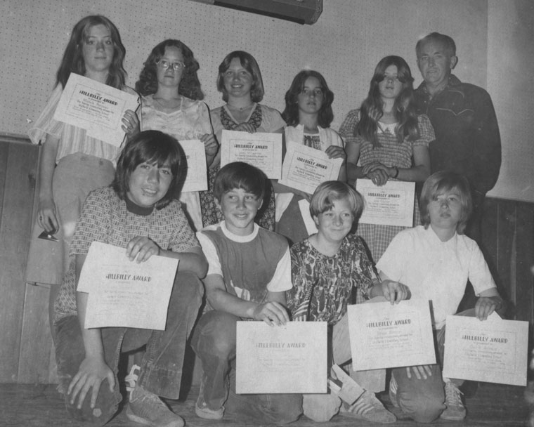 In June 1976, Idyllwild Elementary School awarded Hillbilly certificates to students who had attended the school from kindergarten through seventh grade. Recipients that year were (back row, from left) Shelly Rondeau, Cynthia Peters, Jeni McCaghren and Teri Leih; (from row, from left) Lino Gonzalez, Steve Grewe, Brian Benson and David Arnaiz. Bruce Adams, school board representative from this area, is shown in the back row at far right. File photo