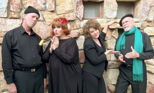 The Stratford Players presents two Little Grimley plays, an exquisitely English comedic romp, starring (from left) Christopher Morse, Barbara Rayliss, Allison Fedrick and Chic Fojyik. Photo courtesy Marsha Kennedy