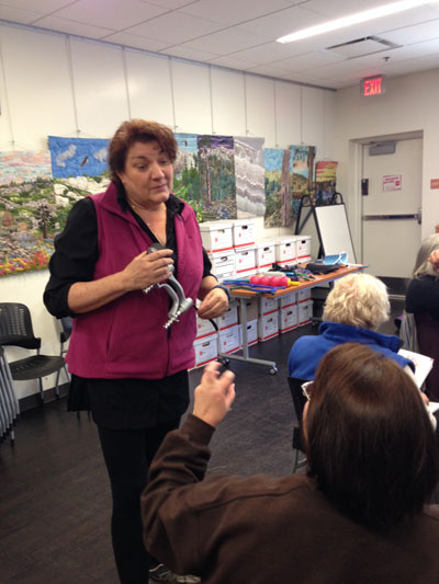 Susan Freed, certified occupational and hand therapist, led an interactive stretching workshop for hands and upper body this past Saturday on behalf of the Art Alliance of Idyllwild. Photo courtesy Shanna Robb