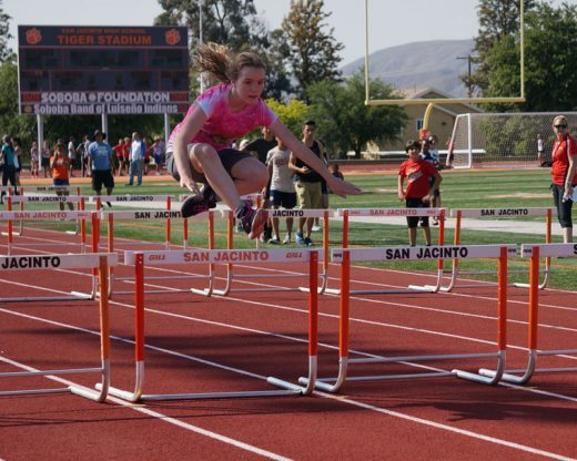 Idyllwild School's Jenna Arnett ran the hurdles during the Middle School Track Meet last week.Photo by Chandra Lynn