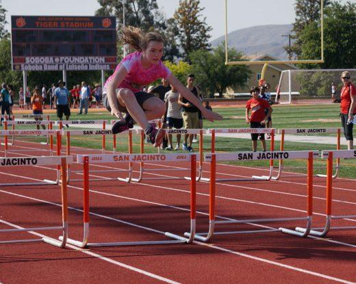Idyllwild School's Jenna Arnett ran the hurdles during the Middle School Track Meet last week.Photo by Chandra Lynn