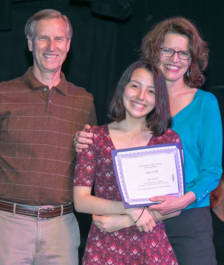 During May's award ceremony at Idyllwild Arts, the Art Alliance of Idyllwild awarded a $1,000 scholarship to a graduating Idyllwild student going into the arts. The school administration selected Clara Stark (center) as the recipient. Shanna Robb (right), AAI president, and Dave Robb (left), scholarship chair, were invited to represent AAI at the awards ceremony.   Jenny Kirchner/Idyllwild Arts