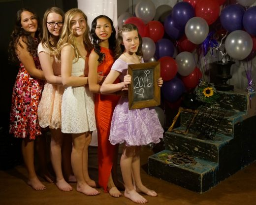 During an evening of dancing after the 8th grade promotion ceremony, future 9th graders Olivia Hernandez, Cecile Landre', Lainie Wilke, Raegen Ingbretsen, and Emmis Norris say good by to idyllwild School. Photos by Chandra Lynn