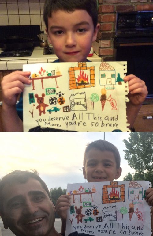 Idyllwild School third grader Tony Solorio, eight years old, step grandson of Mary Lehman, created an artwork greeting for Lehman to take to the Greek refugee camp in northern Greece at which she would be volunteering. Shown below in this composite photo is a refugee at the camp holding his son who is holding the greeting Tony created. Photos courtesy of Mary Lehman