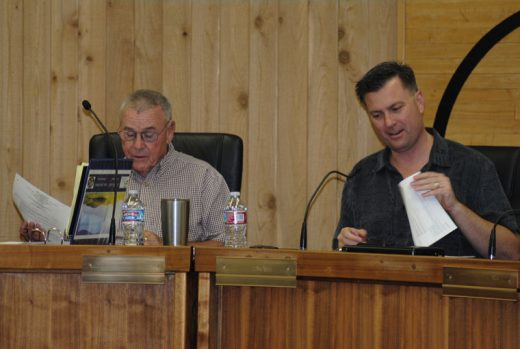The first meeting of the Idyllwild-San Jacinto Regional Fire Authority was Thursday, June 9, in the San Jacinto Unified School District board room. Here, authority Chair Andrew Kotyuk (right), San Jacinto mayor, and Vice Chair Jerry Buchanan, Idyllwild Fire Protection District Commission president, preside over the inaugural session.Photo by J.P. Crumrine