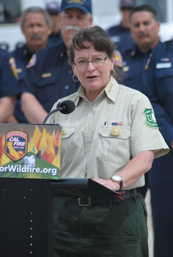 Shawna  Legarza  speaking at the 2015 Cal Fire awareness event at Hemet Ryan Air base. File photo