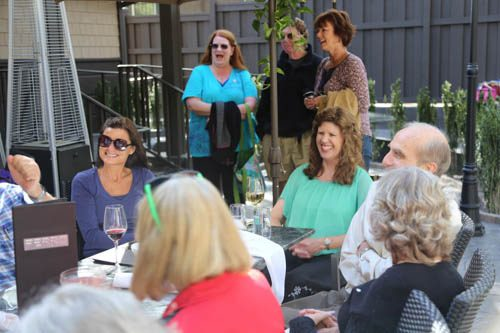 Barbara Longbrook, Idyllwild School K-1 teacher, retired after a 40 year career in education. She is seen here (center) at her retirement party at Ferro in Idyllwild on Friday, May 20. Photo by Cheryl Basye