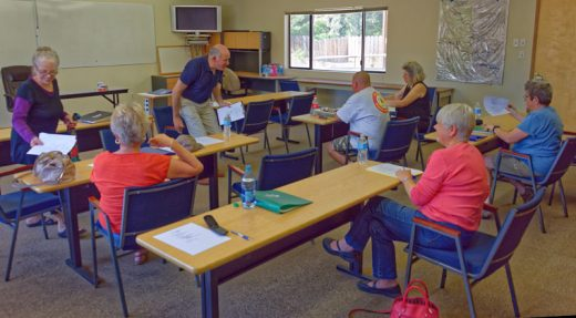 Dr. Dick Goldberg (center) led the meeting of the Core Medical Group on June 1. This group, part of Mountain Disaster Preparedness, plans medical responses to help those in the community who might suffer injuries during a natural disaster. Photo by Tom Kluzak