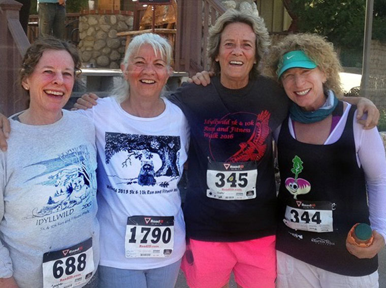 Triumphant participants and finishers of the 5K race included (from left) Jayne Davis, Doris Lombard, Dora Dillman and Sue Parker