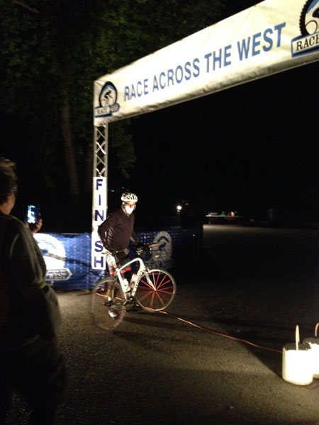 Todd Carpenter, Idyllwild Arts faculty, crosses the Durango, Colorado finish line of the Race Across the West on Friday morning, June 17, 62 hours and 9 minutes after starting from Oceanside. Carpenter finished first in his age group and second overall in the solo racer category.Photo courtesy Bonnie Carpenter