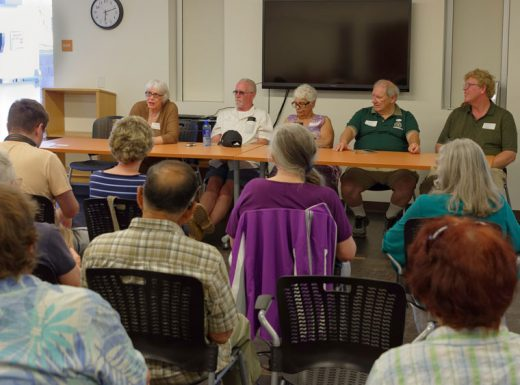 From left, at head table, Reba Coulter, treasurer and project manager; Bob Hinkle, driver; Pat Ruffner, dispatcher; Brent Miller, vice president; and Jeff Smith, secretary, of Forest Folk explain the free Idyllwild Shuttle Service at a meeting in the Idyllwild Library June 7. Thanks to donors and Riverside County, two vehicles are now available to shuttle residents around and off the Hill. Schedules and other information can be found at ForestFolk.org. Photo by Tom Kluzak