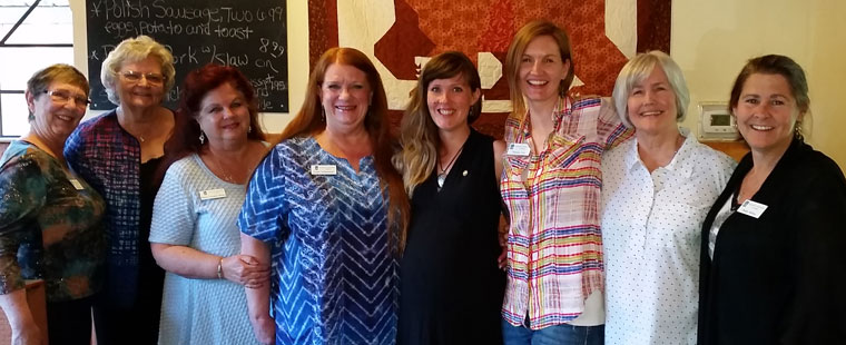 Soroptimist International of Idyllwild held an installation and awards dinner at Mountain Center Cafe on Wednesday, June 15. The new board of directors was installed and is pictured here. From left: Diana Kurr (corresponding secretary), Karen Doshier (director and outgoing president), Phyllis Curington-Brown (director), Suzi Schumacher (treasurer), Halie Wilson (recording secretary), Theresa Teel (president), Isabelle DuBois (Teel's mother and former SI of Idyllwild club president) and Shelley McKay (vice president). Photo by Mary Morse