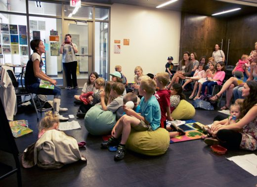 Parents and kids enjoy Rachel Torrey's animated story telling Monday during Storytime at the Idyllwild Library. Photo by John Drake