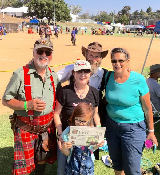 Idyllwild residents attending the San Diego Scottish Highland Games and Gathering of the Clans in Vista over the weekend pose with a Town Crier. From left, Dave Fraser, TC Editor Becky Clark with granddaughter Evey Johnson, Steve Kunkle and Kunkle's friend, Maria Byron of Riverside. Photo by Jack Clark